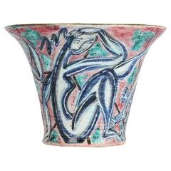 Édouard Cazaux Art Deco Nude Painted Pottery Vase