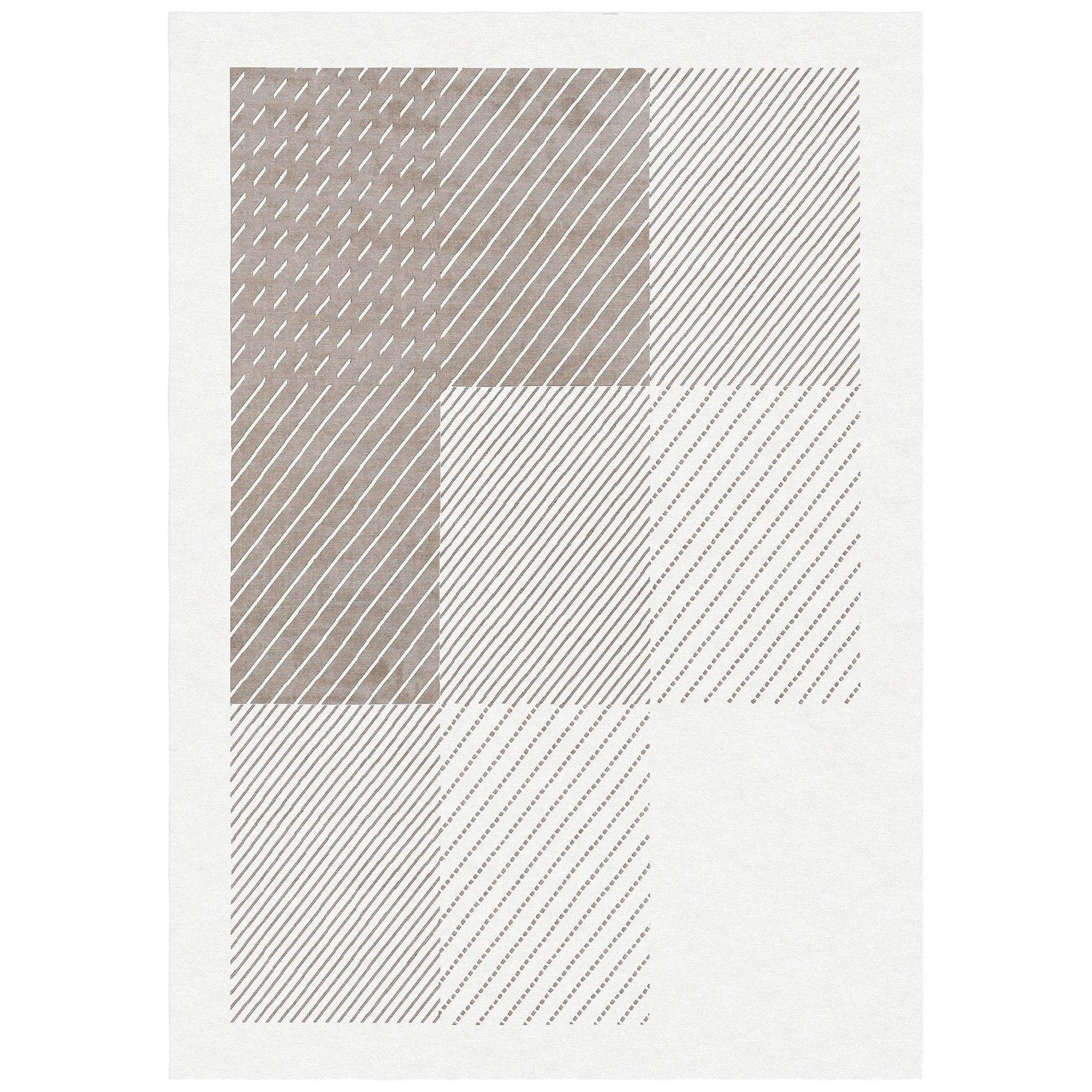 Sardinia, Modern Beige Hand-Knotted Wool Rug