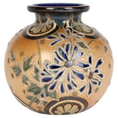 Edith Lupton for Doulton Lambeth Stylized Floral Art Pottery Vase