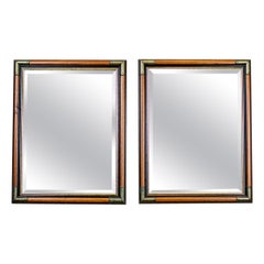 Pair of Modern Mirrors in Stylized Frame