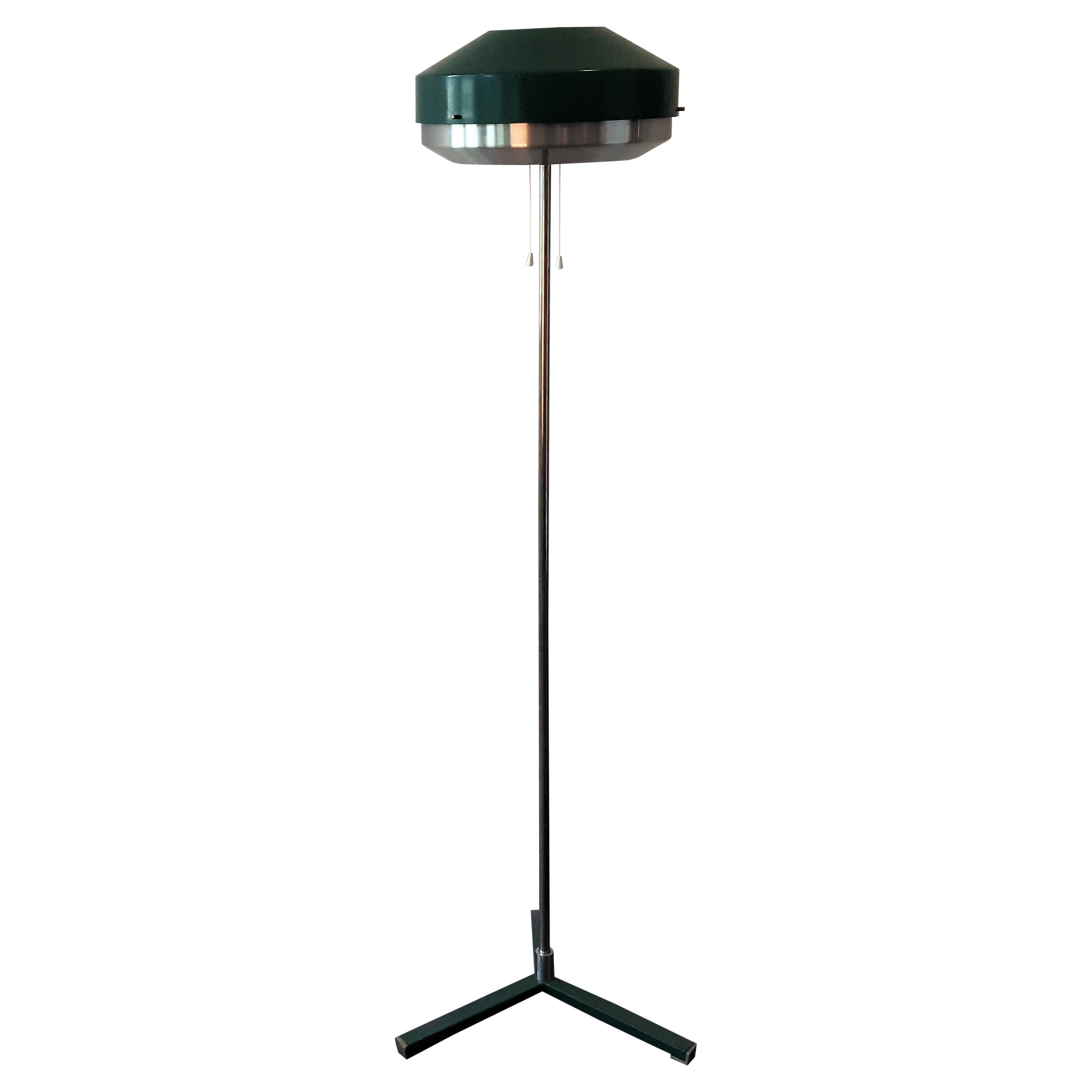 Green Metal Floor Lamp by Willem Hagoort for Hagoort Lamps, the Netherlands 1960