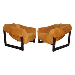 Pair of Rosewood and Suede MP-091 Lounge Chairs by Percival Lafer