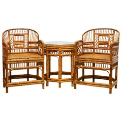 Set of Brighton Pavilion Chinoiserie Chippendale Style Bamboo Chairs and Table