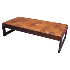 Rosewood and Patchwork Copper Coffee Table by Percival Lafer