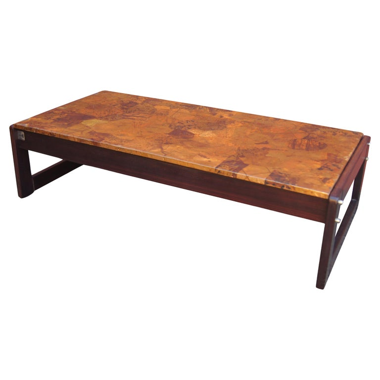 Rosewood and Patchwork Copper Coffee Table by Percival Lafer For Sale