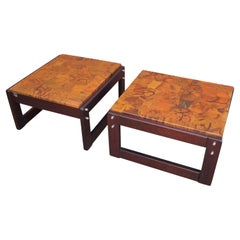 Pair of Rosewood and Patchwork Copper Side Tables by Percival Lafer