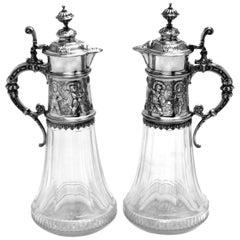 Pair Antique German Silver & Glass Claret Jugs / Wine Decanters / Ewers c. 1890