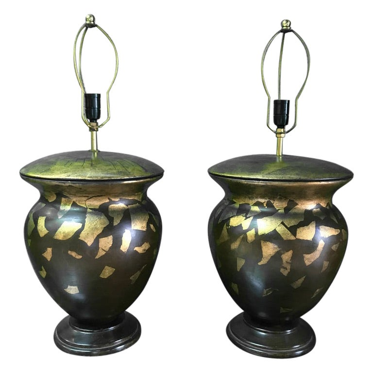 Pair of Hand-Painted Wooden Table Lamps