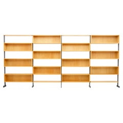 Large Bookcase Free Standing Shelf, Oak and Metal Germany 1960s