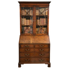 Mahogany Slant Front Bureau Glazed Bookcase or Secretary