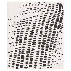 Santorini Night, Black Beige Pattern Hand-Knotted Wool Rug
