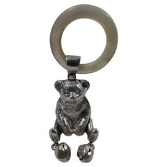 Antique English Edwardian Sterling Silver Teddy Bear Rattle