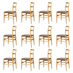 Set of 12 Leggera Dining Chairs in Ash Wood and Leather by Gio Ponti for Cassina