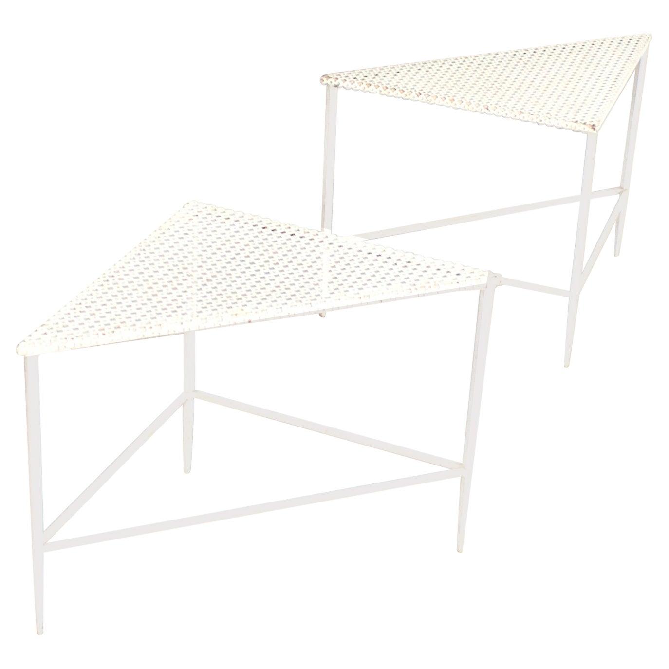 Pair of Triangular Mathieu Matégot Tables for Artimeta in White, 1950s