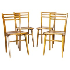 1950's Elegant French Birch Dining Chairs, Set of Four