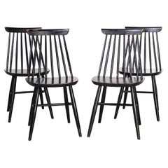 1950's French Ebonised Stick Back Dining Chairs, Set of Four