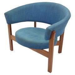 Large Blue Round Swedish Design Chair 'Prim', 1960