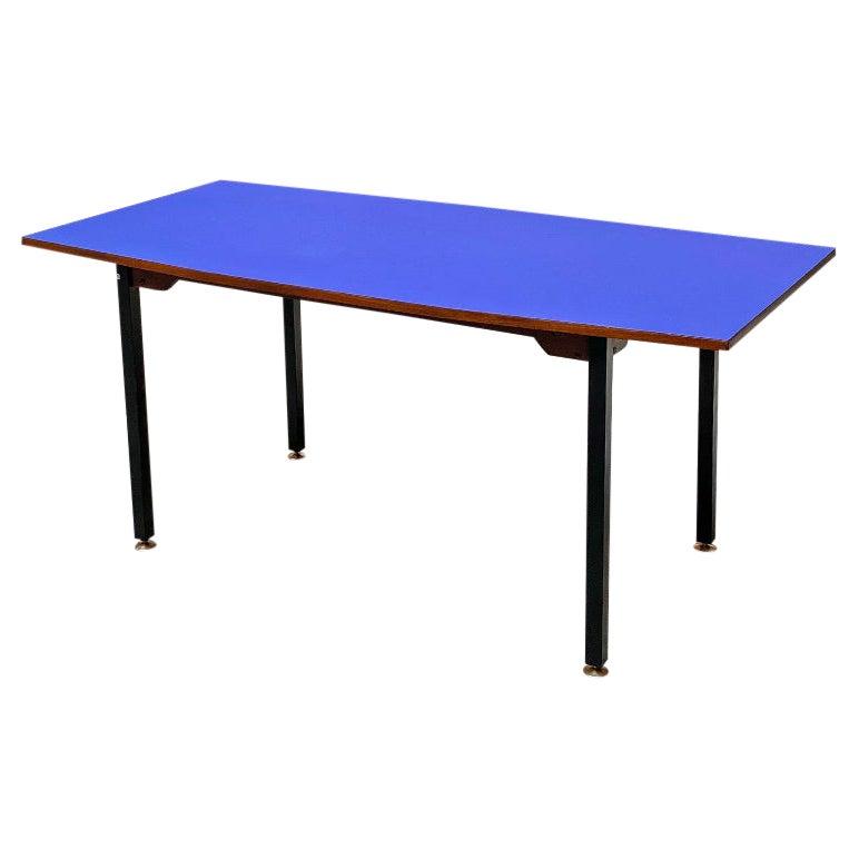 Italian Mid-Century Modern Octagonal Blue Formica Dining Table, 1960s