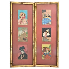 6 Paul Jacoulet Framed Surimono Woodblock Prints