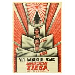 Original Vintage Poster Komjaunimo Tiesa Communist Youth Newspaper Lenin Truth