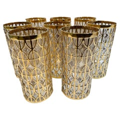 Vintage Set of Eight Imperial Glass Tabique de Oro Highball Glasses