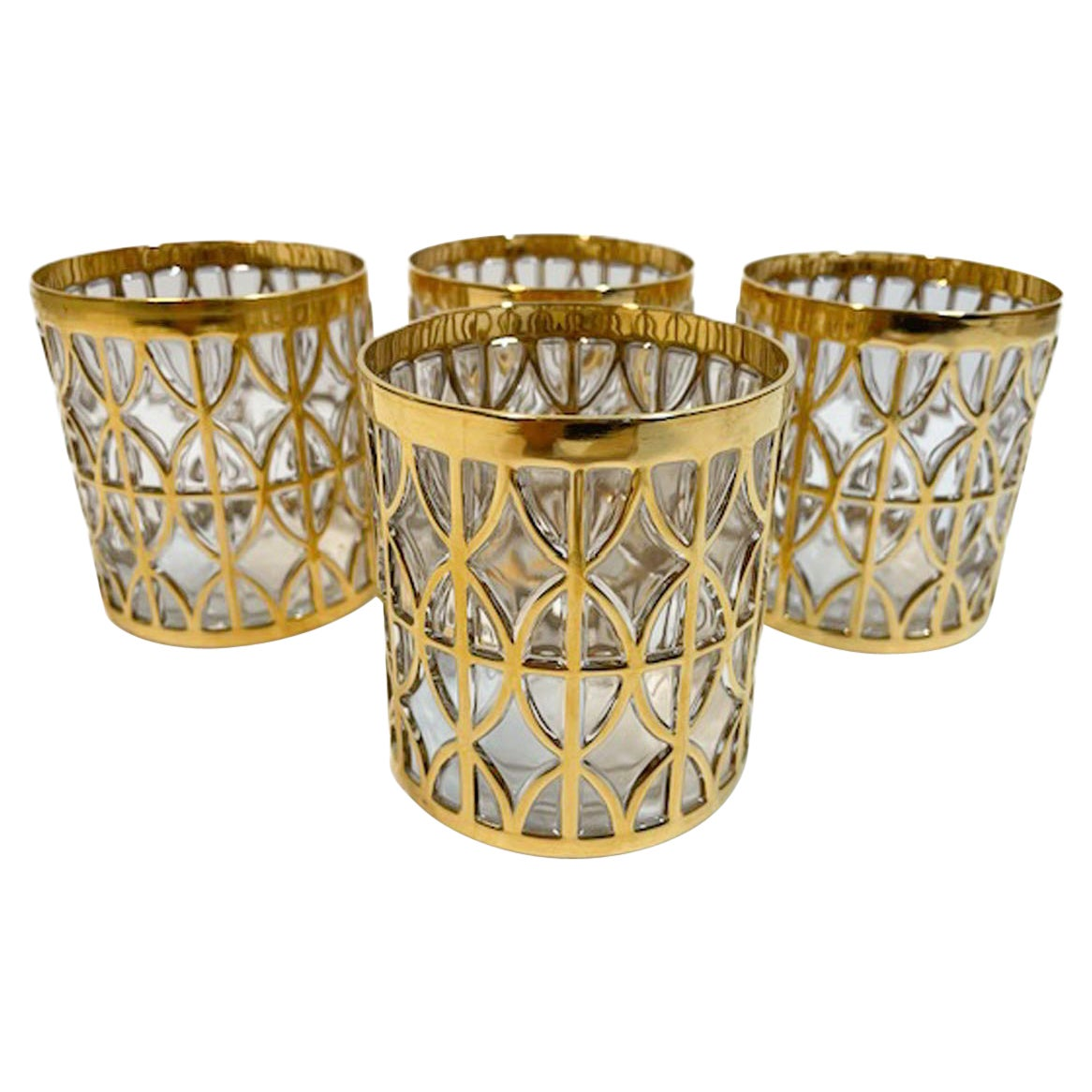 Vintage Set of Four Imperial Glass Co. Tabique de Oro Rocks Glasses