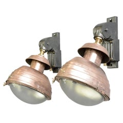 Large French Copper Wall Lights, Circa 1920s