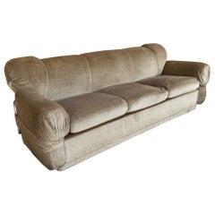 Mid-Century Modern Italian Velvet Sofa with Chrome Structure, 1970s