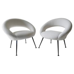 Pair of White Lounge Chairs, Germany, 1950s