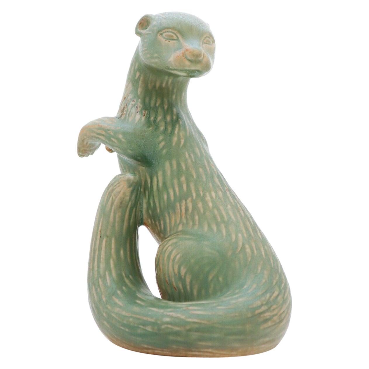 Ceramic Figurine Green Ferret, Gunnar Nylund, Rörstrand, 1950-1960s