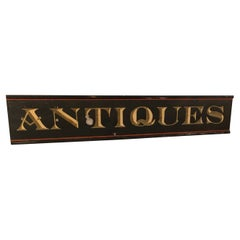 Monumental Vintage Hand Painted Antiques Sign from Old Maine Barn