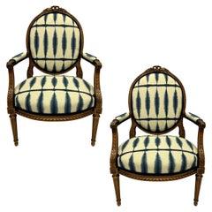 Pair of Louis XVI Style Walnut Fauteuils