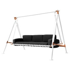 Contemporary Outdoor Swing Sofa Stainless Steel Acrylic Waterproof Fabric Gray