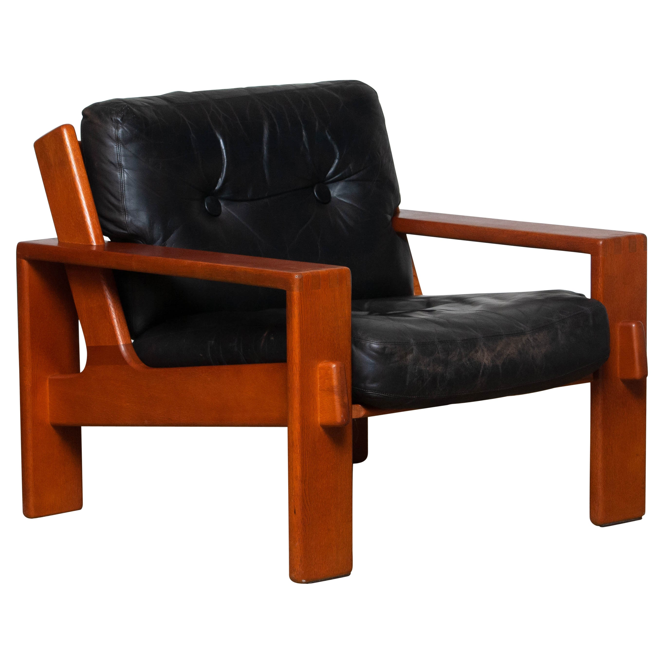 1960s, Teak and Black Leather Cubist Lounge Chair by Esko Pajamies for Asko