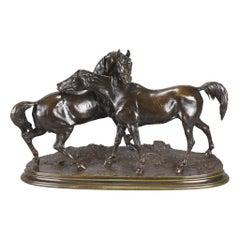 Animalier Bronze Study Entitled 'L'Accolade' by Pierre Jules Mêne
