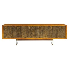 Raphael Important Lacquered Credenza with Textured Bronze Doors 1960s