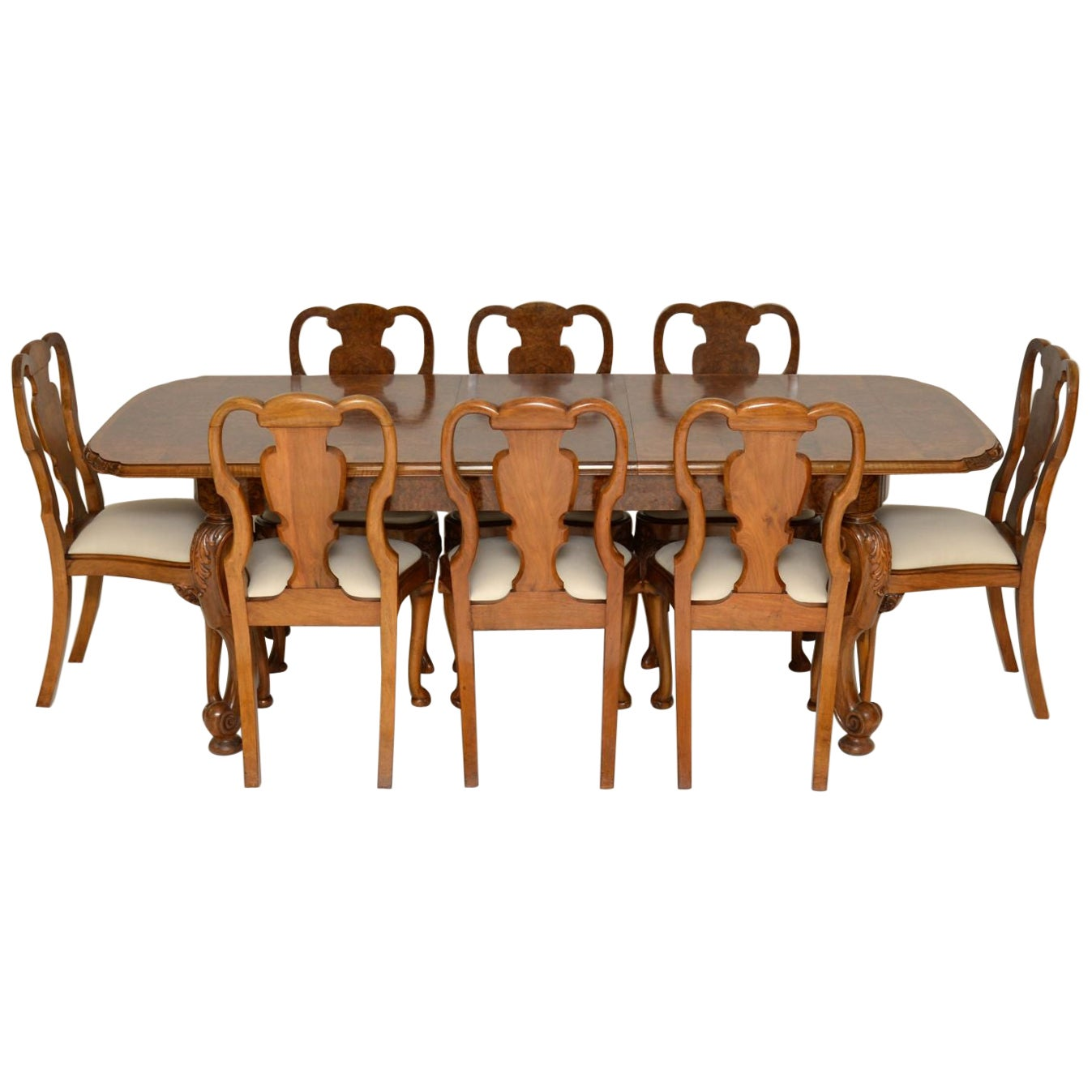 Antique Burr Walnut Dining Table & Chairs