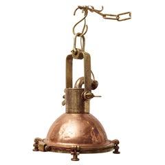 Copper and Brass Ship's Deck Light Nautical Pendant