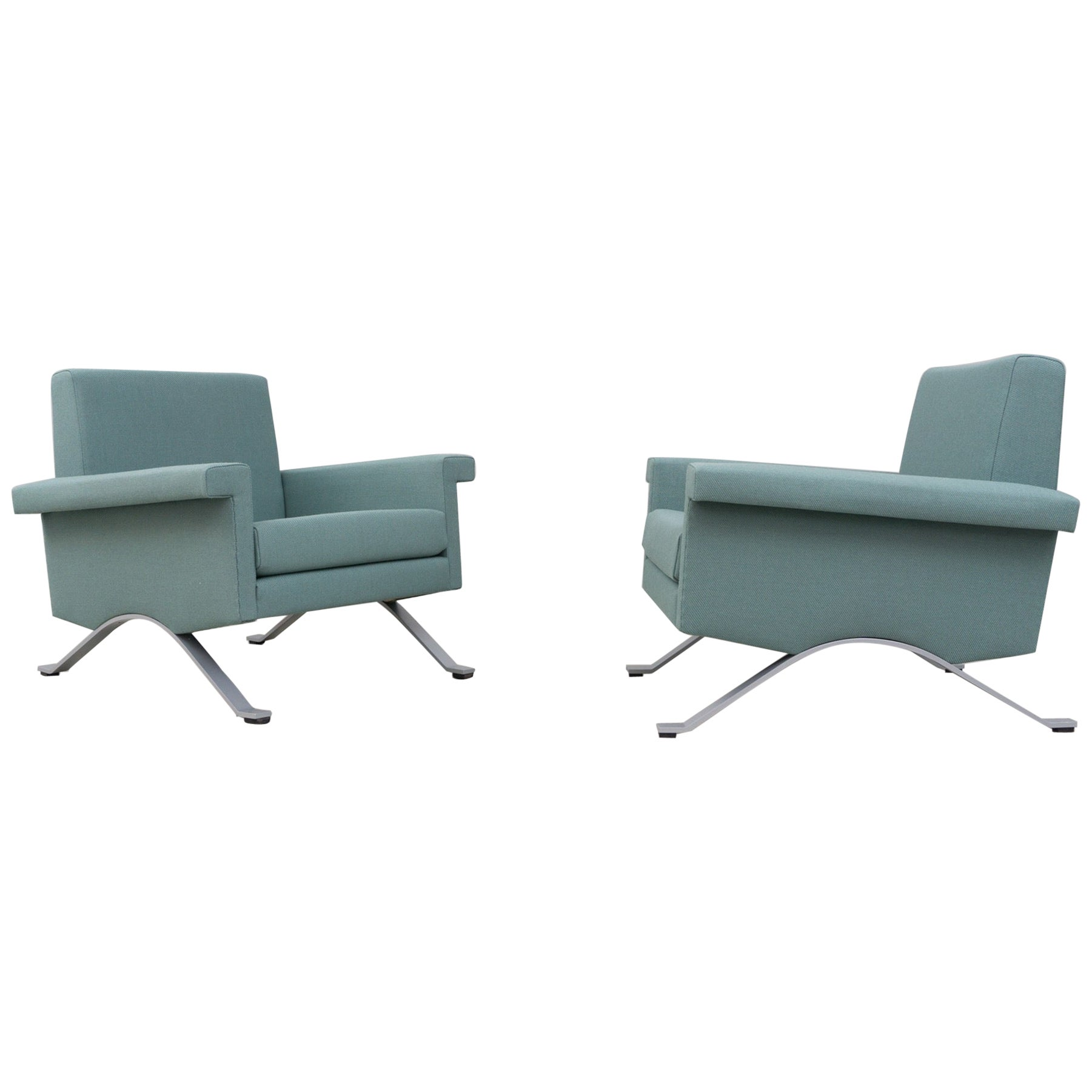 Pair of Armchairs in Grey-Green, Model '875', Ico Parisi, 1960