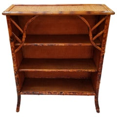 Victorian Tortoise Bamboo and Grasscloth Bookcase, 19th Century England