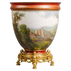 Rare Painted Opaline Glass Vase by Baccarat