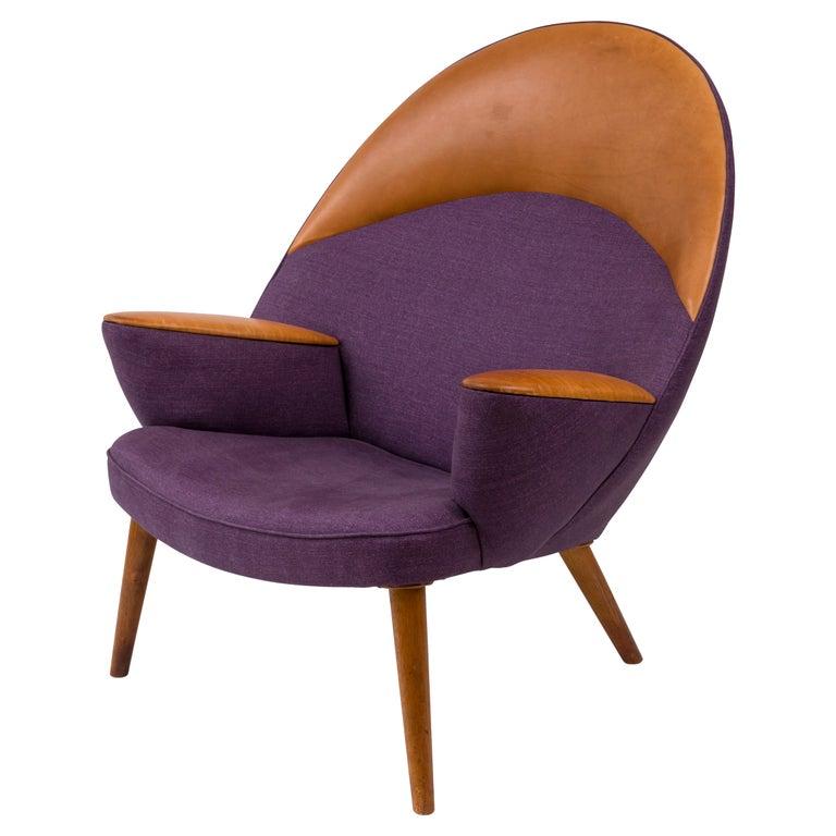 Hans Wegner Upholstered Peacock Easy Chair Model JH521, Denmark, 1953 For Sale