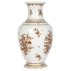 Paris Porcelain Antique En Grisaille Floral Painted Vase