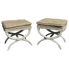 Pair of Mid-Century Neoclassical Style Footstools