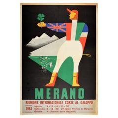 Original Vintage Sport Poster Merano Corse Al Galoppo Italy Gallop Horse Racing