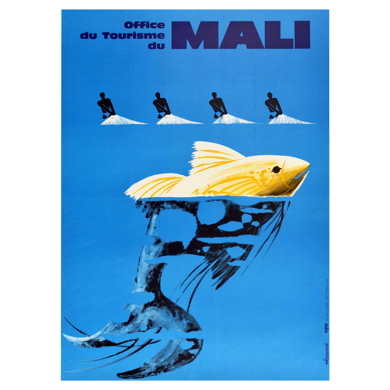 Original Vintage Travel Poster Mali Fishermen Africa Tourism Graphic Design Fish