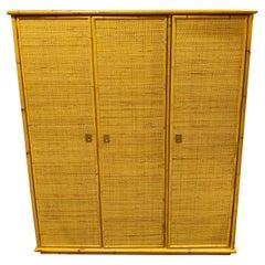 Rattan and Bamboo Wardrobe by Dal Vera, 1960s
