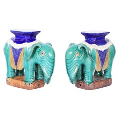 Pair of Chinese Glazed Terra Cotta Elephant Stands