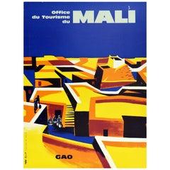 Original Vintage Travel Poster Mali Gao West Africa Office Du Tourisme City View