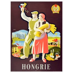 Original Vintage Travel Poster Hongrie Hungary Wine Industry Agriculture Tourism